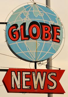 wisconsin, towers, globes, globe news, vintag neon, vintage neon signs, news superior