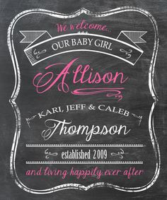 Printable Birth Announcement / Nursery Art - Chalkboard Look 5 x 7 Print - Digital File Only. $15.00, via Etsy.