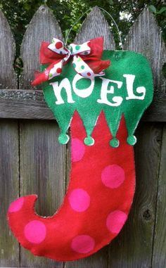 Christmas Stocking Burlap Door Hanger