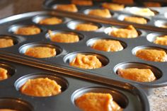Whole Wheat Pumpkin Mini Muffins Making this with a half a cup of apple sauce in place of oil. Also using egg whites :)