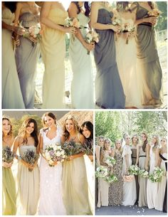 bridesmaid dresses, different colors, mix and match,