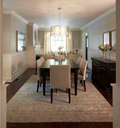 glamorous dining room : lighting : layout : furnishings