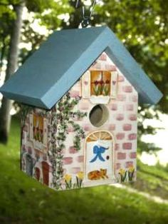 Image detail for -Brick House wooden hand painted birdhouse