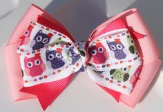 Owls Light Pink Dark Pink Purple and Green Hair Bow by bowsforme, $6.99