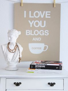 8 Stylish Dorm Room Updates by Jeanine Hays on @HGTV.  I Love You Blogs and Coffee Poster by Jen Ramos.