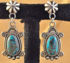 Terry Martinez Handmade S S Navajo Dangle Earrings Natural Morenci Turquoise $385.00