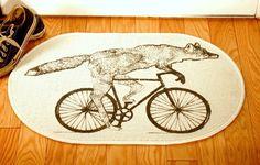 Fox on a Bike Natural Creme White Rug - Bath Mat or Door Mat. $25.00, via Etsy.