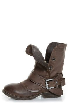 Some great motorcycle boots for the ladies.  Report Woods Dark Brown Belted Convertible Motorcycle Boots