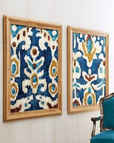 ikat fabric framed as art