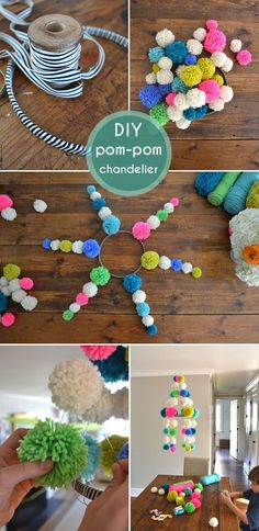 DIY Pom Pom Chandelier Mobile with pdf tutorial - Neon, Striped, and retro mod craft! Via SmallforBig.com #diy #kids #crafts #pompoms #yarn
