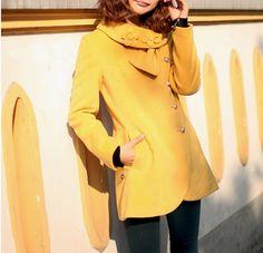 Yellow Cloak Spring Wool Coat Women Fitted Flower by dresstore2000, $63.79