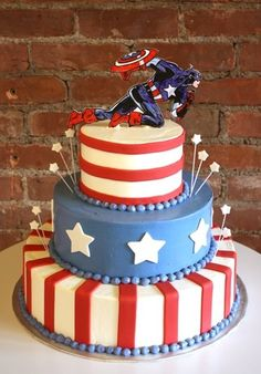 Captain America Birthday Cake! - Amie's fiance would LOVE this for their wedding cake.  LOL themed birthday parties, music cakes, captain america, america cake, 4th of july, groom cake, 17th birthday, themed cakes, birthday cakes