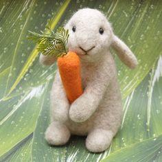 Handmade Needle Felted Wool Rabbit Bunny by BinneBear on Etsy