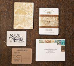 Vintage style wedding invites