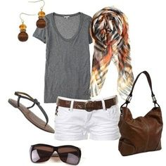 Gray tee with white shorts and brown bag and sunglasses .. Elegant and classy $24.99!!Oakley sunglasses is on sale! http://www.glasses-max.com