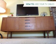 Hiding tv cords in the bedroom... we might have to bite the bullet and cut the holes! Living Rooms, Hiding Tv Cords, Hiding Tv Cable, Hiding Cable, Hiding Wire, Tvs, Hiding Cords, Diy Projects, Pretty Awesome