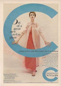 1954 Odette Barsa peignoir vintage lingerie in Chemstrand Nylon ad, DOVIMA models
