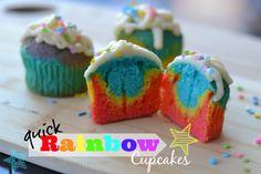 Quick Rainbow Cupcakes Recipe   Meet Kristy Birthday Parties, Cupcake Recipes, Cakes Cupcakes, Cupcakes Baking, Parties Ideas, Cupcakes Cak, Rainbows Cupcakes Recipe, Rainbow Cupcakes, Quick Rainbows