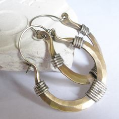 Mixed Metal Earrings - Sterling Silver And Bronze Hoop Earrings - Rustic Mixed Metal Jewelry - Metalwork Bronze Jewelry - Bronze Earrings