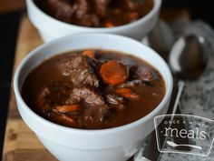 Slow Cooker Beef Bourguignon - Once A Month Meals - Low FODMAP