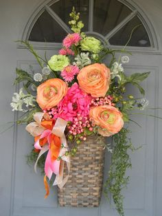 Tangerine and Raspberry Floral Summer Wreath