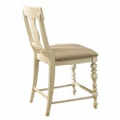 """Turned counter-height side chair with a shaped back splat and upholstered seat. Product: Counter chairConstruction Material: Wood and fabricColor: LinenFeatures:Part of the Paula Deen Home CollectionShaped back splat Distressed finishDimensions: 42"""" H x 18"""" W x 21"""" D"""