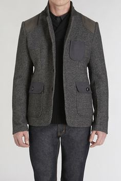 3 Button Blazer w/Shoulder Patch - Paul Rizk - Coats + Jackets : JackThreads