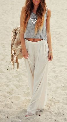 beach attire, hipster, boho chic, fashion, beach outfits, white pants, casual outfits, beach styles, light
