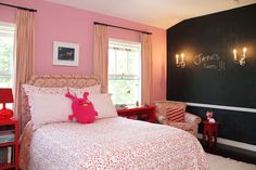 Pink and black room.