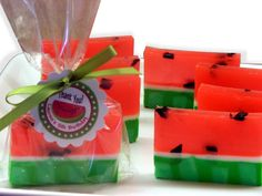Set of 15 Watermelon Soap Party Favors with customized tags for Summer Birthdays, Showers, Pool Party. $30.00, via Etsy.