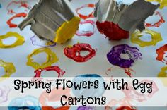 spring art with egg carton flowers printing