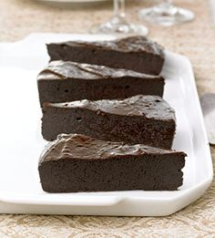 Flourless Chocolate Cake: This flourless dessert recipe will satisfy even the biggest chocolate craving. Five ingredients make preparation a snap:  ingredients  8  oz. unsweetened chocolate, very coarsely chopped;  4  oz. semisweet chocolate, very coarsely chopped;  1-1/3  cup sugar;  1  cup margarine or unsalted butter;  5  eggs