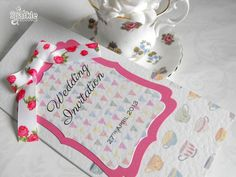 Afternoon tea wedding invitation from SparkleWeddings.co.uk