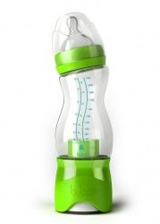 Put the formula in the bottom, water in the bottle and push to dispense formula into the water when needed.