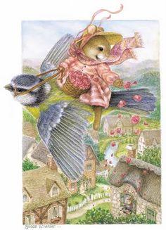 . bluebirds, artists, illustrations, cottages, susan wheeler, blog, babies rooms, holli pond, vintage cards