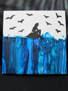 Litte Mermaid melted Crayon art! Adorbs!!