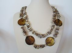 Beige and Brown  mother of pearl double strand necklace by yasmi65, $32.00
