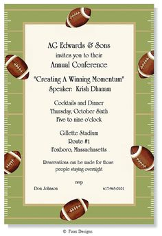 Events - Football Border Invitation from Faux Designs