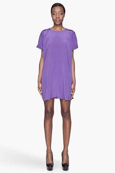 3.1 PHILLIP LIM Violet purple Pleated Shoulder silk T-Shirt Dress