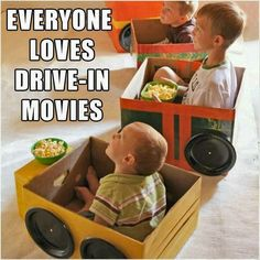 idea, craft, cardboard boxes, watch movies, movie nights, paper plates, parti, family movies, kid