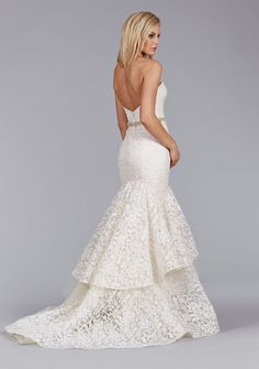 Ivory Gold Chantilly Lace Fit and Flare gown, strapless sweetheart neckline, natural waist accented with crystal embroidered belt, 2 tiered skirt over tulle with horsehair trim, chapel train. Bridal Gowns, Wedding Dresses by Jim Hjelm Bridal - JLM Couture - Bridal Style jh8456 by JLM Couture, Inc.
