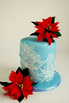 royal ice, christmas cakes, brush embroidery, royal icing, cake decor, brushes, brush embroideri, sugar poinsettia, christma cake