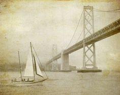 Sailing the bay - Black and White Photography - nautical - san francisco sail boat 8x10