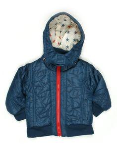 Donkerblauwe shiny winterjas voor baby'tjes met afneembare sterrenkap - Kik*Kid