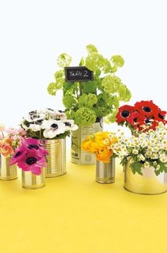 Cans as vases.