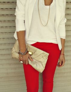 Always love this combo, just don't know if I'm brave enough to rock red pants...