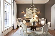 images of dining rooms decorated in lavendar and grey | Driven By Décor: Drapery Panels for a Gray Dining Room