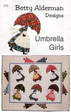 Umbrella Girls  WALL HANGING Quilt Pattern UNCUT ala Mary Poppkins, Sun Bonnet Sue by mbchills