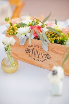 Wine Crate Wedding Centerpiece