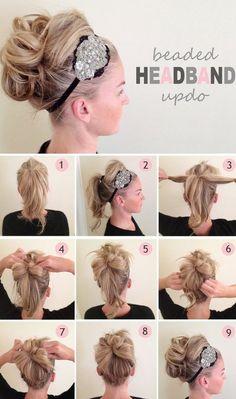 hair styles for long hair diy hairstyles, heart headband, bead headband, headband updo